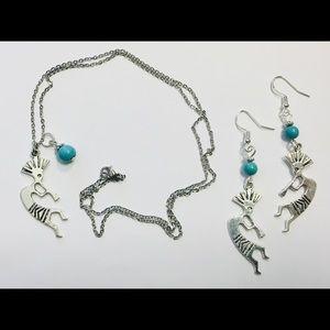 Kokopelli Southwestern Turquoise Jewelry Set